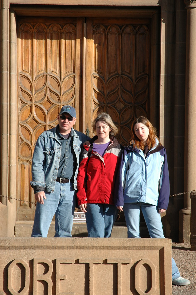 Amy doing an awful job of framing Gary, Susan and Kim in front of the LORETTO chapel.