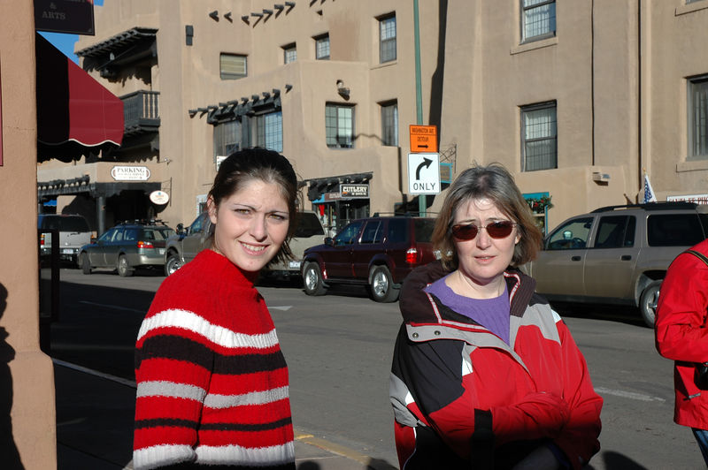 Amy and Susan shopping in Santa Fe.