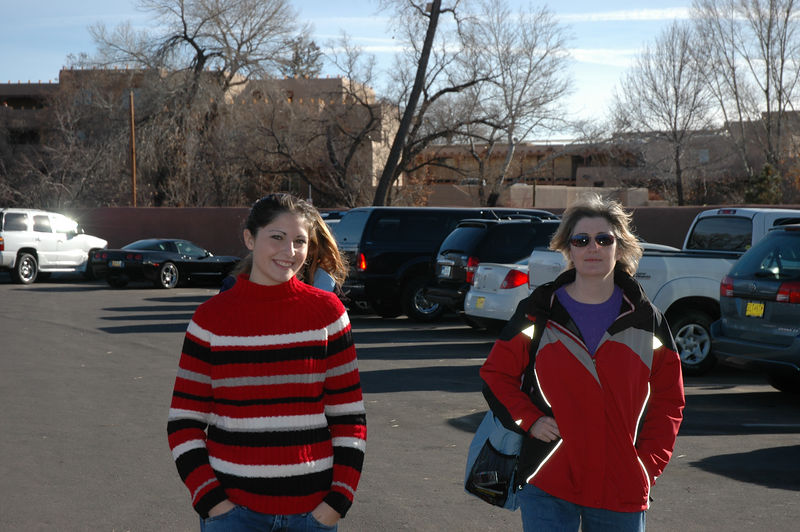 Amy and Susan enjoying the pleasant weather. Santa Fe was in the 50-60 range with just a few scatter clouds way off in the distance.
