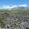 The volcano, le Piton de Fournaise, is 8632 ft high - it can just be seen below the fluffy white clouds. <br /> We're standing at sea level taking this photograph of the more recent lava flows.