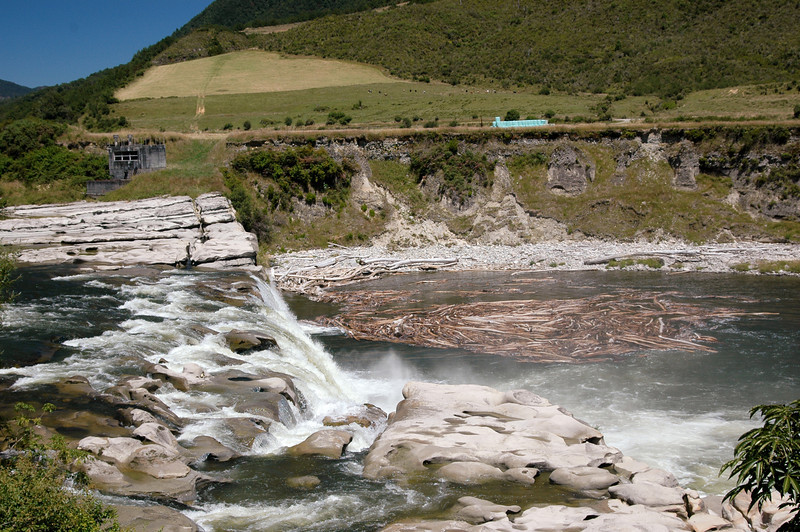 Maruia Falls - something in order of a 10 metre drop.  Was formed in an earthquake in 1929.