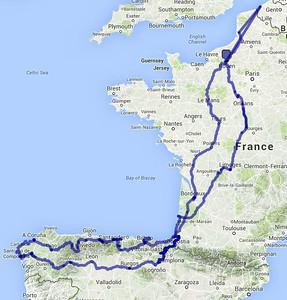De weg die we volgden volgens de data die ik uit de GPS haalde. Ongeveer 5000 km op de moto.