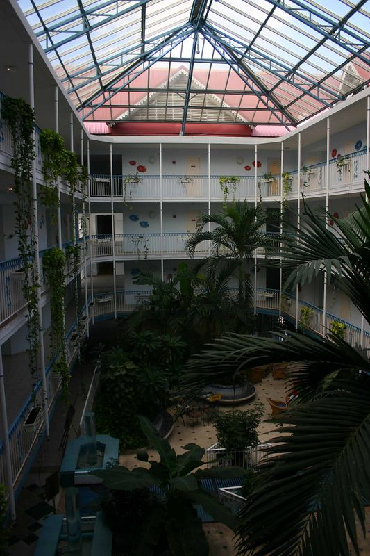 The Beach Plaza has a courtyard type design - at least in the lobby area.   This atrium separates rooms that front the ocean and rooms that front the road.   I never intended to book a room on the roadway and I am glad that I did not - it would have been noisy with traffic.