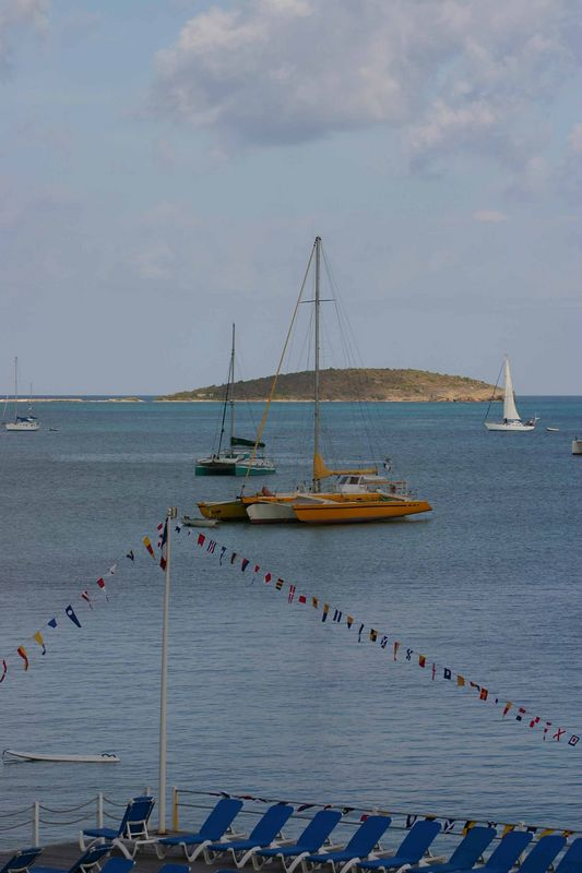 There were sailboats of every imaginable type - such as this yellow catamaran.