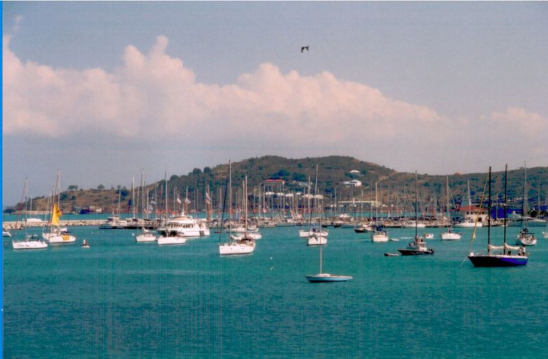 Sailboats were everywhere and in the background were the hills surrounding Marigot.