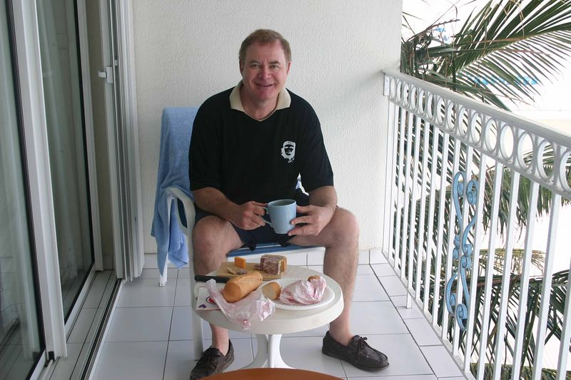 We had a small refrigerator in our room - about the size of a mini-bar fridge.   We kept our milk, cheese, pate, and, of course, beer in it.  My breakfast consisted of croissants or a baguette together with jam, cheese or pate.   Francine had a croissant and Philadelphia cream cheese.