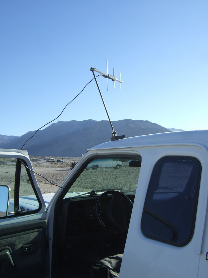 One of our camp mates has an old 3-watt cell phone, and he had a dial tone with that Yagi.