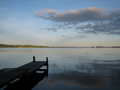 The jeti of the sauna house stretching into the lake at Sanna's summer place.