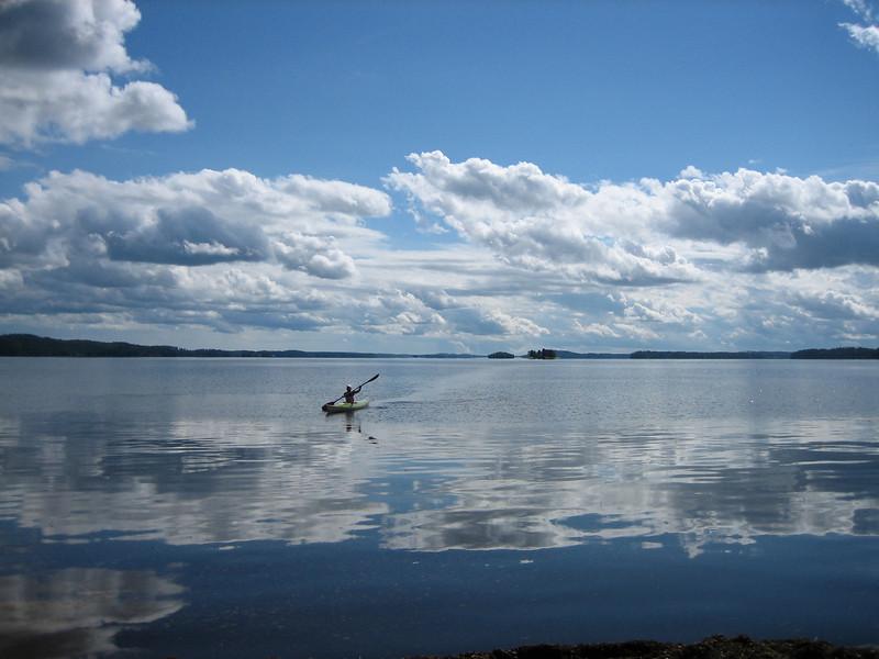Sanna in her canoe in Finland.