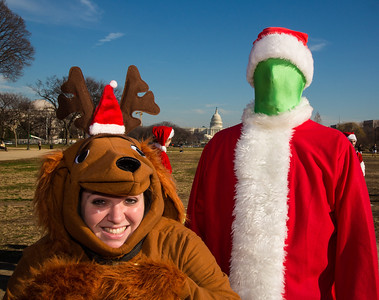 Drew and Chelsea from DC as the Grinch and his dog Max