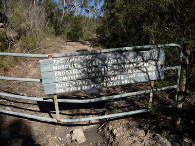 The gate located approx 6.4 km from the Sassafras Camping Area.