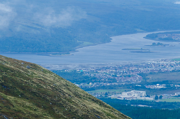 Fort Williams from the half way point up the Ben Nevis Range in Scotland