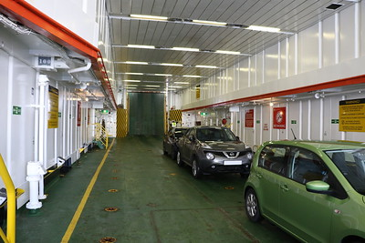 Car deck of MV Lord of the Isles after bow ramp closed up at Mallaig.