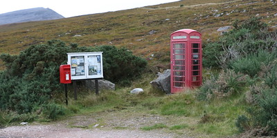 Phonebox and Postbox on the west side of Loch Eriboll between Portnancon and Laid