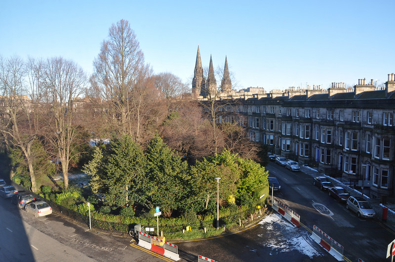 From our Edinburgh hotel room window. View of Eglington Crescent and beyond