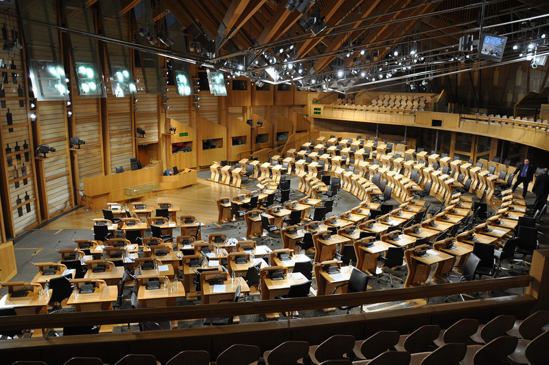 The debating chamber at the Scottish Parliament gets ready for a lot more waffle from the Scots Nats and Labour Party stooges. An appropriate memorial to Donald Dewar's excesses