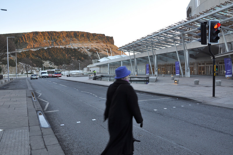 Arthur's Seat in the background of the new Scottish Parliament. The entrance on the right is where 'the trough', Scottish & Newcastle's Executive Dining Room, was sited when Ian worked for Scottish Brewers (and enjoyed fine dining lunches courtesy of Tom, the chef)