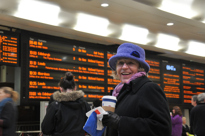 Sheila with her ubiquitous coffee fix. The Edinburgh train is departing on time too!