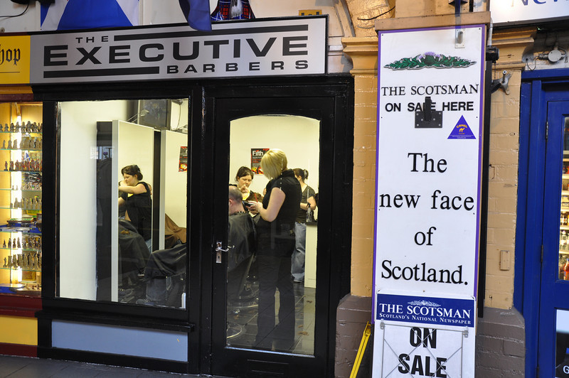 The new face of Scotland with hairstyles in the barber shop in the Inverness Victorian Market