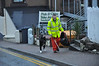 Assisted by his dog this cheerful and chatty street cleaner keeps Mallaig's streets clear of litter