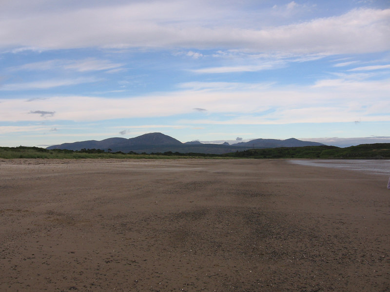 The beach at Carradale Bay, looking towards the hills of Arran.