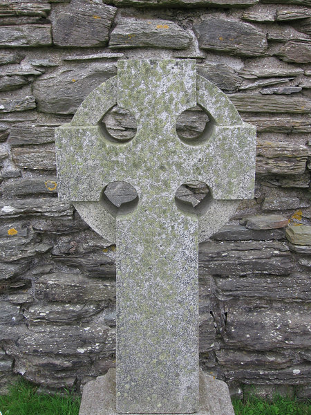 One of the many gravestones around the ruined church.