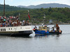 """WAVERLEY assisted by a local fishing boat at Tarbert. She has now stopped calling at Tarbert Pier, more information can be found <a href=""""http://clydesights.com/2008/08/tarbert-pier-end.html"""">here</a>."""