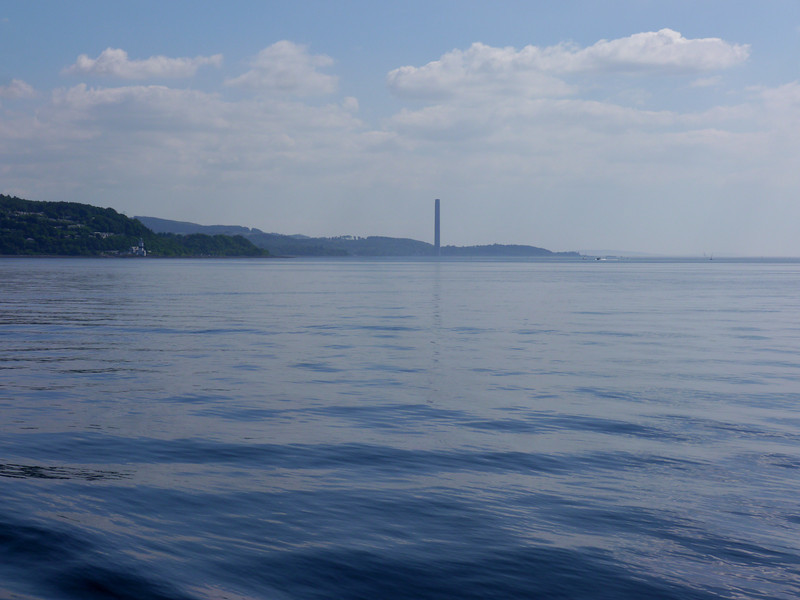 Ferry over the Clyde, looking towards the soon-to-be demolished Inverkip Power Station chimney