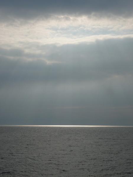 Sunlight reflected on the sea.