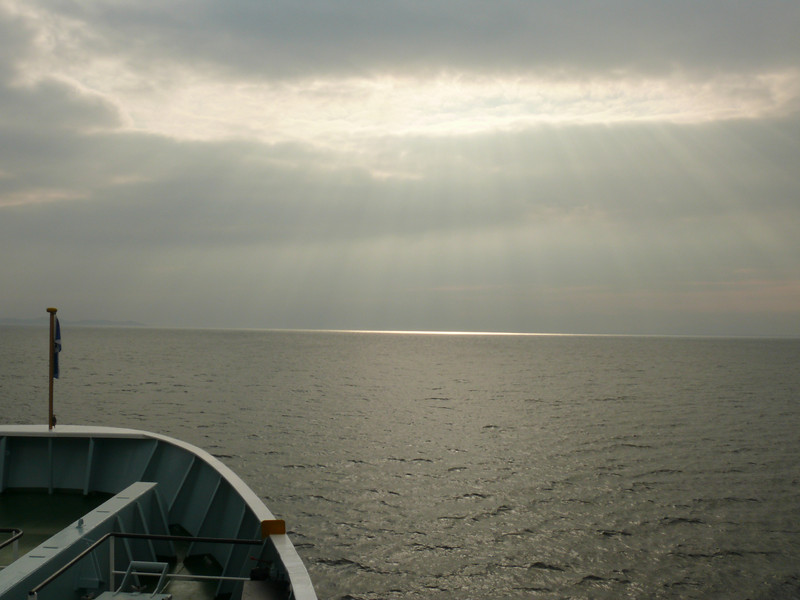 View over the bow of HEBRIDEAN ISLES on the way to Port Ellen.