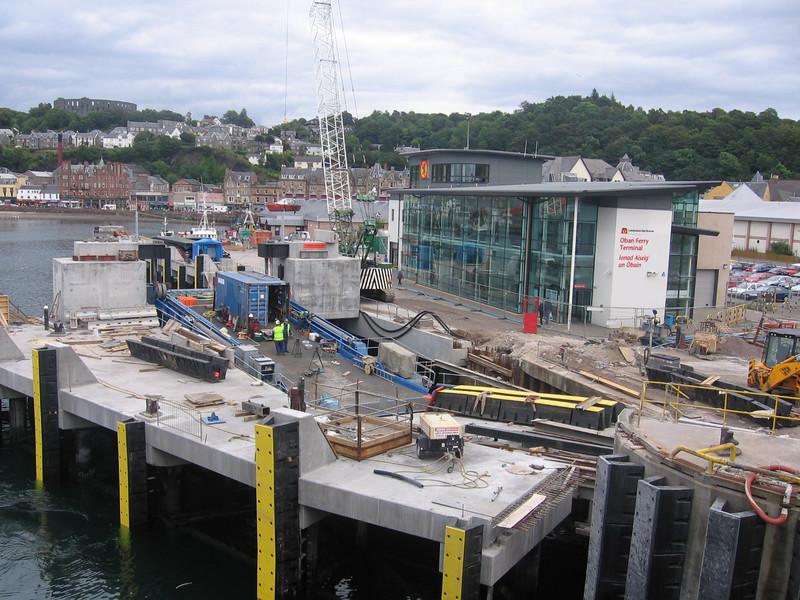 The new linkspan at Oban, still under construction.