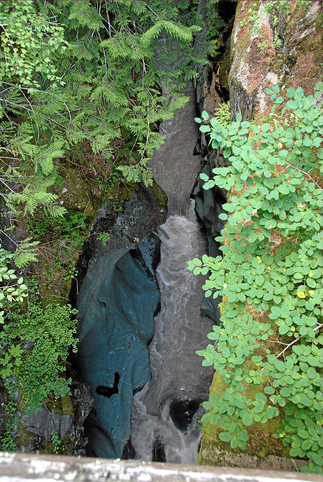 Box Canyon. 115 Feet deep, no wider than 13 feet. Water eroded the rock, starting from a crack