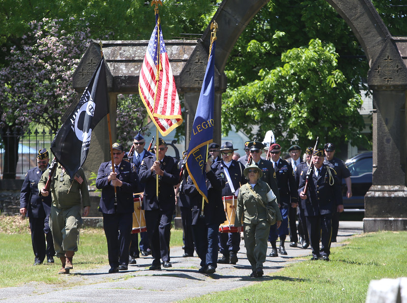 Memorial Day observance at Village Cemetery in Shirley. Procession enters Village Cemetery. (SUN/Julia Malakie)