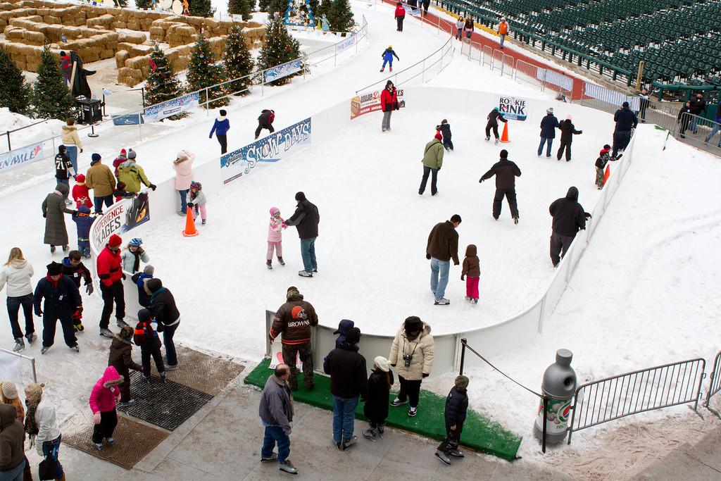 The kiddy ice skating rink.