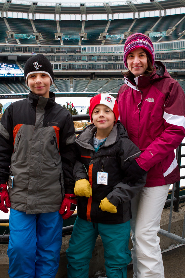 A mother and two sons enjoying Snow Days.