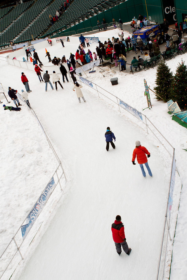 The ice skating rink near left field, Progressive Field.