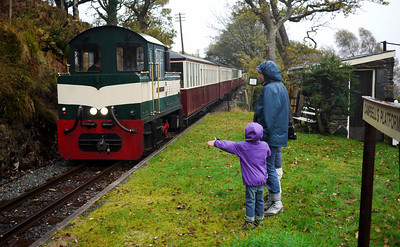 Zoë succeeds in hailing the early down-train to Porthmadog
