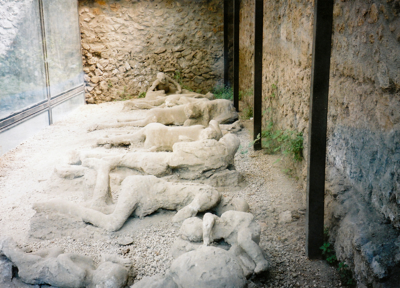 Pompeii. The famous bodies buried under the ash from the Vesuvius eruption many centuries ago. These turned out to be replicas, rather disappointingly.