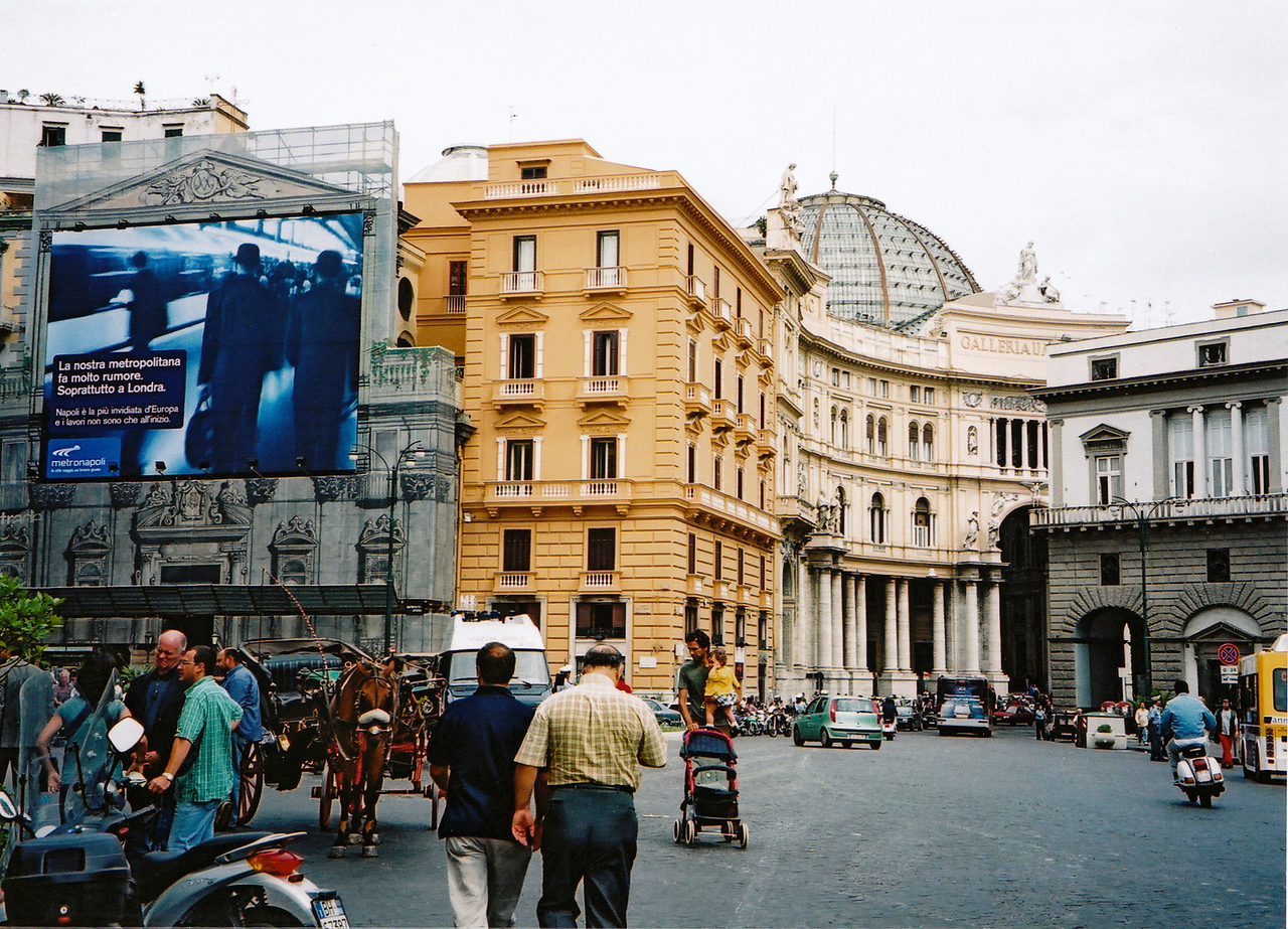 Naples. Note the trompe l'oeil covering on the building that's being renovated.