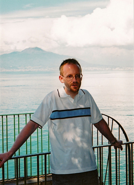 Me in Sorrento, on the steps down to the harbour, with the Bay of Naples adn Mount Vesuvius in the background.