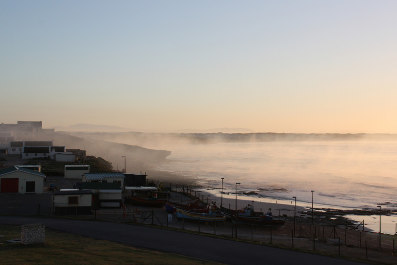 Arniston in the mist - view from the hotel balcony