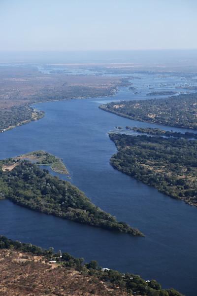 Victoria Falls - Helicopter Tour - Zambezi River Above Victoria Falls