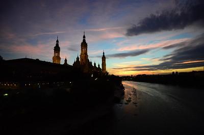 Basilica  Pillar, and the Ebro River in Zaragoza