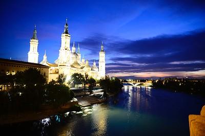 Blue hour;  Basilica  Pillar and the Ebro River; Zaragoza