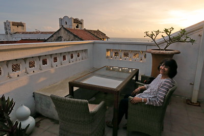 Sri Lanka - Galle - Veena Enjoying Rooftop Beer 1