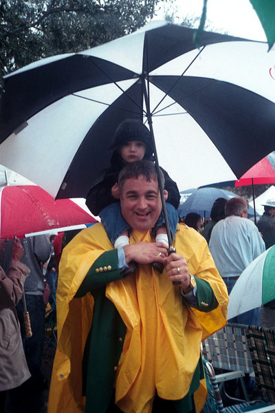 2003. We watched the whole Parade in the rain. Gil sat on my shoulder throughout.