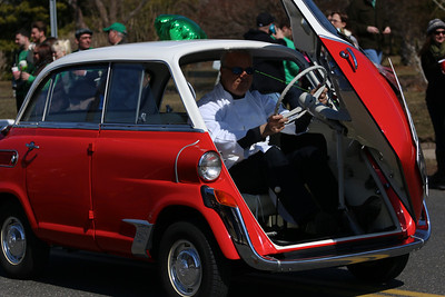 The 2014 St. Patrick's Day Parade in Westhampton Beach, NY.  A car similar to the one Steve Urkel drove.