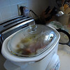 Preparing the corned beef and cabbage in the crock pot.