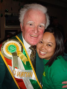Pat Troy, owner of Pat Troy's Irish bar and chairman of the parade, giving Jackie a squeeze.  Isn't he cute?