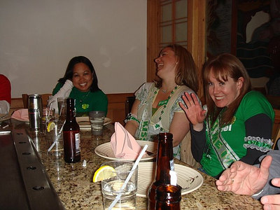 Jackie, Kristin, and Sonia having dinner at a Japanese Steakhouse.  It goes to show anything/anyone can be Irish in March!